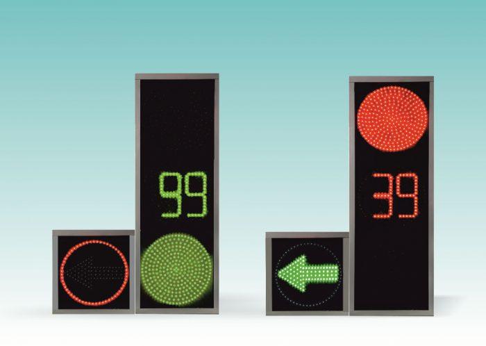 Транспортный светофор с красным контуром дополнительной секций